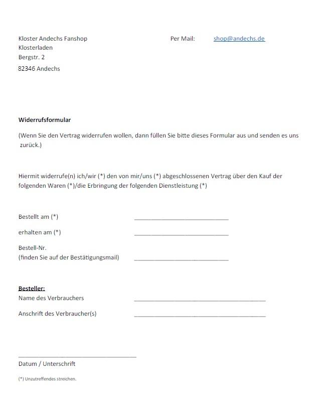 widerrufsrecht formular - Widerrufserklarung Muster